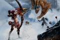 Картинка холод, зима, взгляд, девушка, снег, оружие, крылья