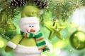 Картинка звезды, украшения, елка, Новый год, снеговик, new year, колокольчик