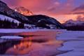Картинка зима, небо, облака, снег, горы, озеро, отражение