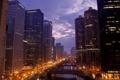 Картинка небо, ночь, река, здания, небоскребы, панорама, USA