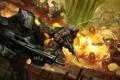 Картинка оружие, огонь, войны, монстры, солдаты, битва, concept art