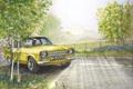 Картинка дорога, природа, рисунок, Ford, живопись, Escort