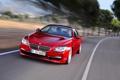 Картинка Передок, BMW, Красный, БМВ, Водитель, Капот, В Движении