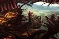 Картинка девушка, корни, дом, музыка, дерево, ветер, птица