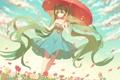 Картинка девушка, цветы, зонт, аниме, лепестки, арт, vocaloid