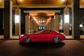Картинка здание, Mercedes-Benz, мерседес, AMG, SLS, слс.красный, суперкар.вид сбоку