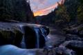 Картинка закат, камни, река, небо, лес, потоки