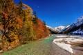 Картинка осень, небо, снег, деревья, горы, река