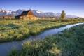 Картинка природа, ручеек, горы, зеленые луга, трава