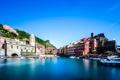 Картинка море, небо, дома, лодки, Италия, гавань, Вернацца