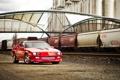 Картинка красный, рельсы, вагоны, Chevrolet, Camaro, red, шевроле