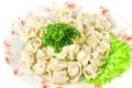 Картинка зелень, тарелка, салат, пельмени, гарнир, красный перец, meat dumplings