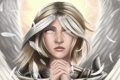Картинка взгляд, лицо, волосы, крылья, ангел, перья, руки
