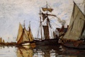 Картинка вода, живопись, Клод Моне, Monet Claude, Солнце в порту Онфлер, Pont of Honfleur Sun