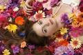 Картинка цветы, лицо, волосы, брюнетка