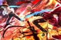 Картинка оружие, магия, кровь, меч, аниме, арт, парни