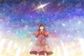 Картинка девушка, звезды, аниме, арт, ушки, варежки, bounin