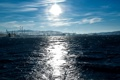 Картинка краны, небо, солнце, акватория, волны, доки, море
