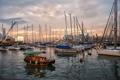 Картинка рассвет, лодки, утро, гавань, Hong Kong, Гон-Конг