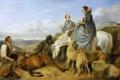 Картинка собаки, небо, пейзаж, горы, тучи, люди, лошадь