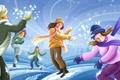 Картинка зима, радость, люди, позитив, сугробы, шарфы, снежки