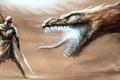 Картинка песок, пустыня, монстр, буря, воин, арт, пасть