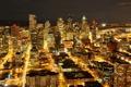 Картинка ночь, город, огни, небоскрёбы