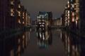 Картинка небо, ночь, огни, дома, Германия, канал, Гамбург