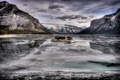 Картинка зима, горы, озеро, плот