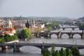 Картинка мост, река, дома, Прага, Чехия, панорама, Влтава