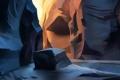 Картинка солнце, линии, закат, скалы, камень, арт, каньон