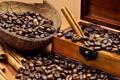 Картинка coffee, wooden box, coffee beans
