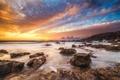 Картинка песок, пляж, камни, скалы, берег, расвет