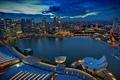 Картинка city, дома, вечер, Сингапур, Singapore, высотки.