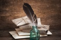 Картинка бумага, перо, верёвки, пакеты, пузырёк, письма