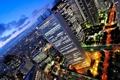Картинка свет, город, огни, небоскребы, вечер, улицы
