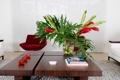 Картинка цветы, диван, ковер, кресло, ваза, столик, гостиная