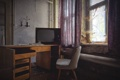 Картинка комната, окна, кресло, занавес, солнечный свет, веб