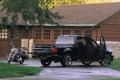 Картинка чёрный, мотоцикл, ford, форд, пикап, f-150, supercrew