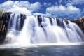 Картинка небо, облака, скала, водопад