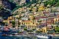 Картинка пляж, скалы, здания, катер, Италия, Italy, Amalfi
