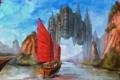 Картинка пейзаж, город, река, скалы, корабль, парусник, арт