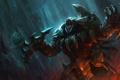Картинка оружие, дождь, арт, ярость, головы, league of legends, rengar