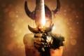 Картинка оружие, фантастика, меч, руки, рога, мужчина, Warriors