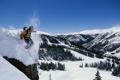 Картинка спуск, елки, лыжник, скала