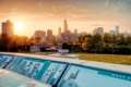 Картинка солнце, city, рассвет, небоскребы, USA, америка, чикаго