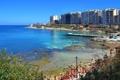 Картинка море, дома, набережная, пальмы., Malta, Мальта