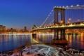Картинка небо, ночь, Соединенные Штаты, зеркало, огни, Нью-Йорк, Манхэттенский мост