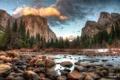 Картинка зима, лес, горы, река, камни, Национальный парк Йосемити, Yosemite National Park