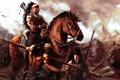 Картинка арт, всадник, воины, индейцы, копья